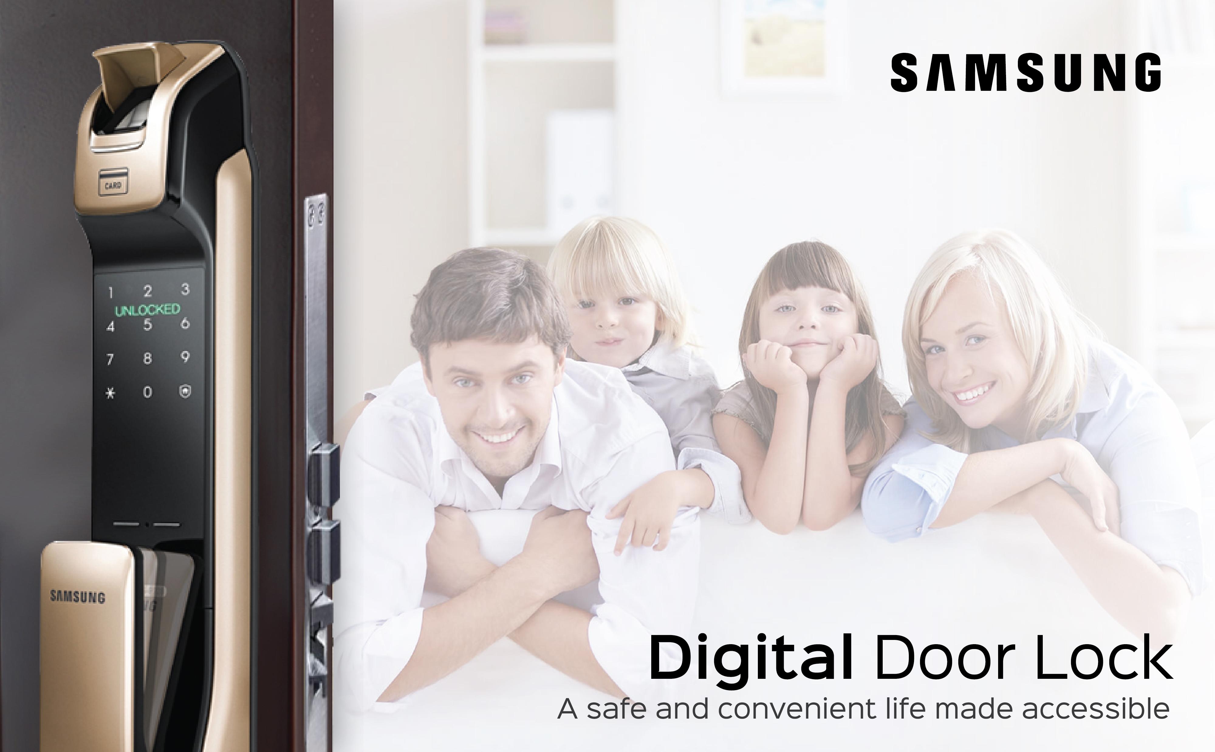 Khóa cửa vân tay Samsung chính hãng giá rẻ tại Hà Nội