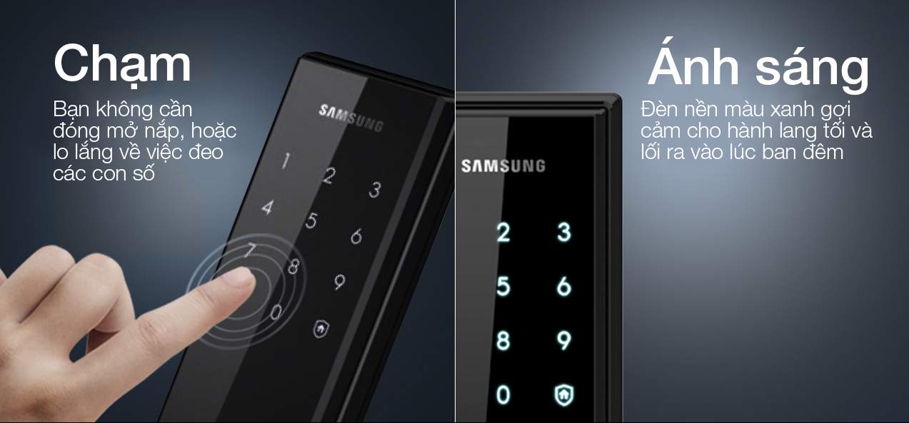 Tính năngkhóa cửa điện tử Samsung SHS H505 hiện đại