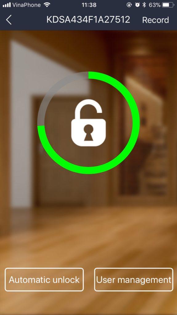 Ứng dụng mở khóa qua Bluetooth trên khóa cửa vân tay Kaadas